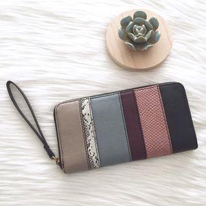 Fossi Jori Zip Clutch Dark Patchwork RFID Wallet